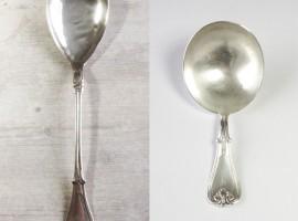 før og efter - eksempel på sølvsmed Sidsels Dorph Jensens arbejde med udgangspunkt i genbrugstanken